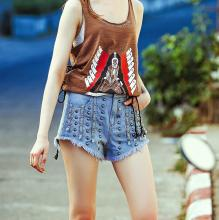 Vintage Rivet High Waist Denim Shorts Women Tassel Short Jeans Punk Sexy Hot Summer Fashion Short Pants mf1001
