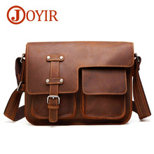 JOYIR  New Crazy Horse Genuine Leather Black Mens Crossbody Bags Briefcase Vintage Messenger Bag Shoulder Travel 6302