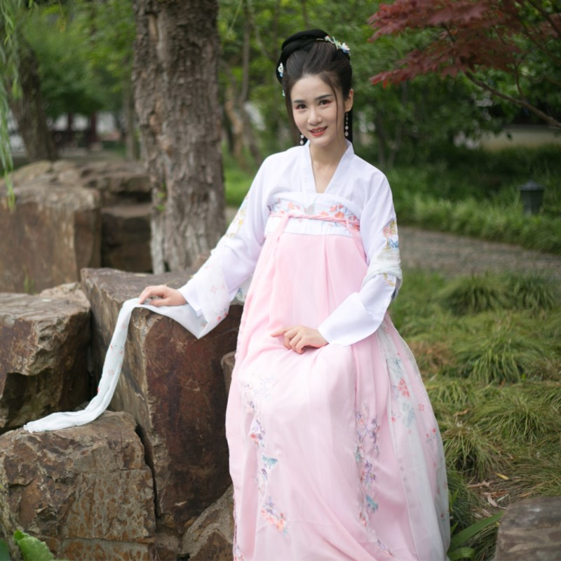 Hanfu summer dress female costume daily improvement cosplay students Chinese style temperament elegant fresh and elegant style
