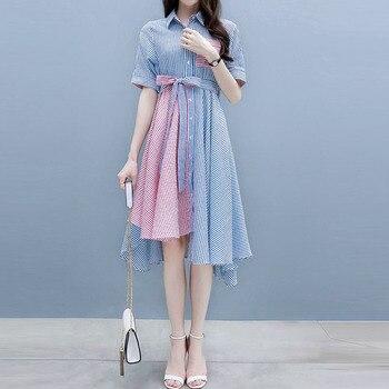 0d8dab4c727f0 Young17 Kadın Yaz uzun elbise Vestido Parti Zarif Elbise Asimetrik Bayanlar  Ofis Vestido Kawaii 2019 Gömlek Kore Elbise