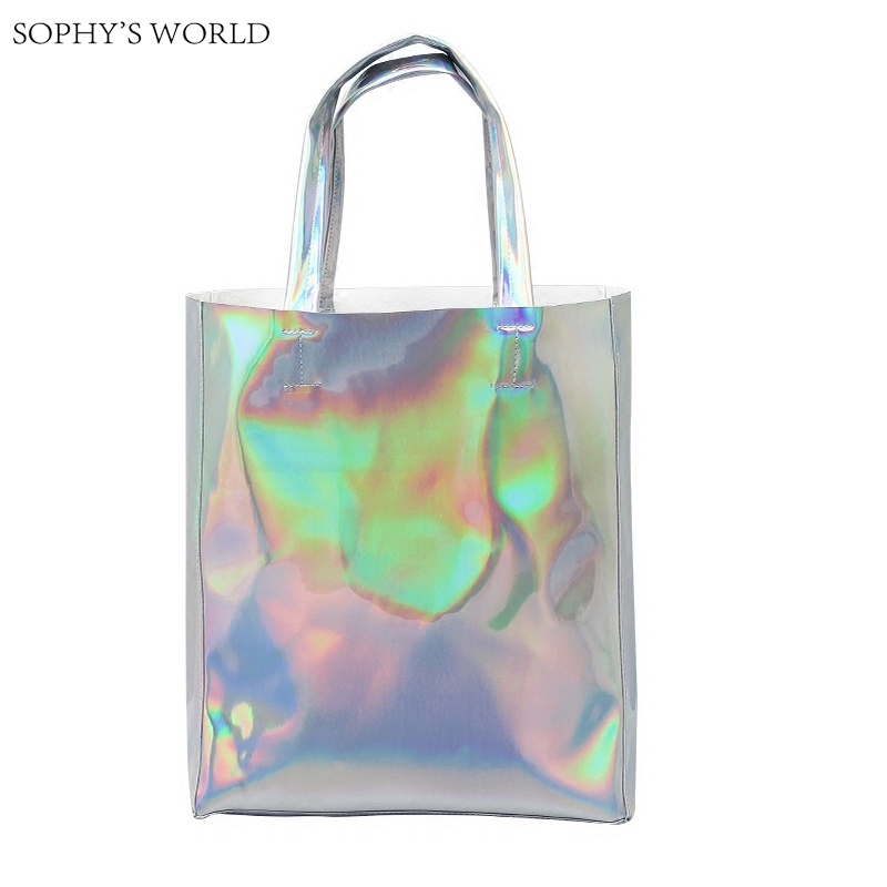 Luxury Brand Women Shoulder Bag Hologram Leather TopHandle Bags Silver Ladies Shopper Bag Large Capacity Tote Handbags Beach Bag