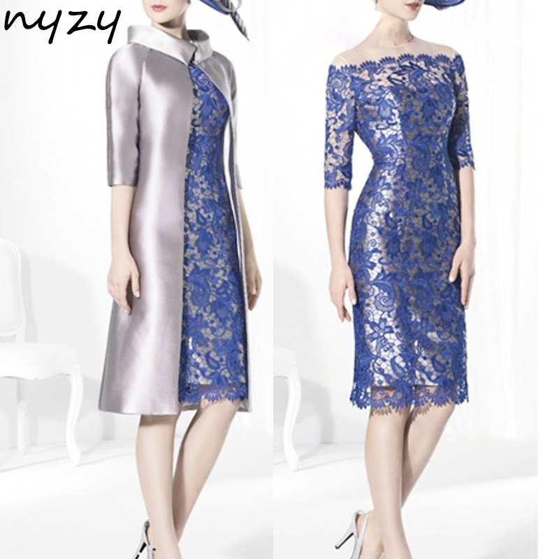 NYZY M40 Cocktail Dresses Two Piece With Jacket Bolero Coat Silver Blue Robe De Cocktail Pour Mariage Wedding Guest Dress Party