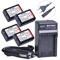Batmax 4Pcs NP FW50 NPFW50 Battery + Digital Wall Charger for Sony Alpha a7, a7II, a7R, a7RII, a7S, a7SII, a5000, a5100, a6000