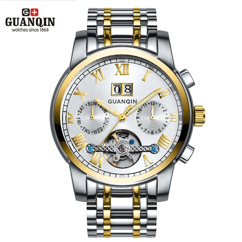 GUANQIN Men's Automatic Watch Date Week Mechanical Watches Luminous Fashion Waterproof Wrist Watch Men Clock erkek kol saati цена 2017