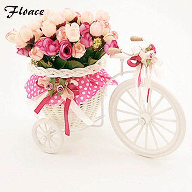 Floace Beautiful Tricycle High Quality Rattan Vase + Flowers Meters Spring  Scenery Rose Artificial Flower Set Home Decoration