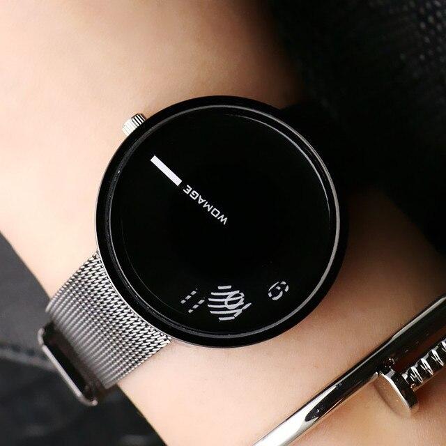2018 Мода Горячие Продаем Марка Womage Женщины парня кастрировать сетки стали наручные часы популярный Стиль Кварц студент часы уникального дизайна