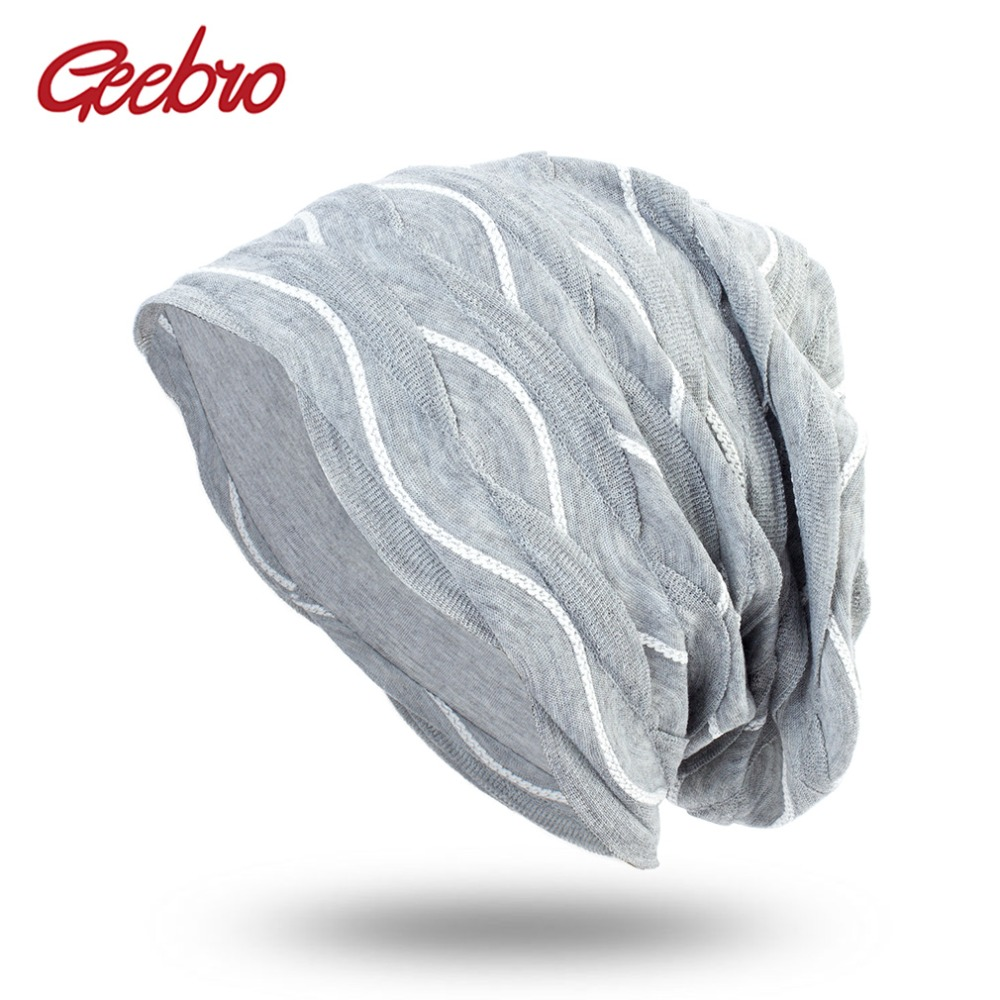 Geebro Spring Women's Bonnet   Beanies   Men's Cotton Solid Wave Pattern Hats For Ladies Soft Comfortable   Skullies     Beanie   Cap DQ413B