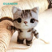 GuanDin,Non-Finished Grey Cat Wool Felt DIY Poke Music Japanese Cartoon Handmade Creative Production Material Package(China)