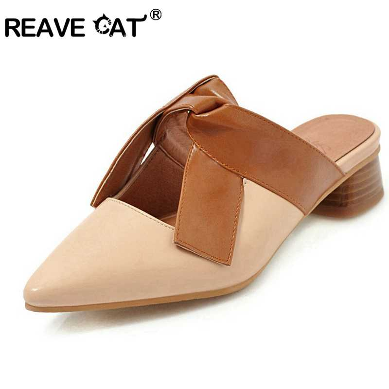 bee0e6862d405d REAVE CAT 2019 New arrival Summer Slipper Shoes woman Flat Pointed toe  Bowtie PU Rubber Beige