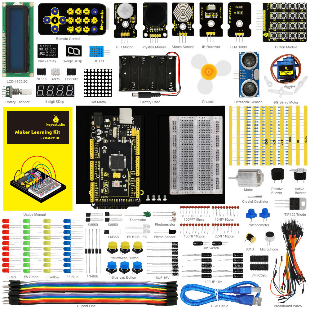 Keyestudio Updated Maker Starter Kit For Arduinos Starter Kit MEGA 2560 R3 User Manual 1602LCD Chassis