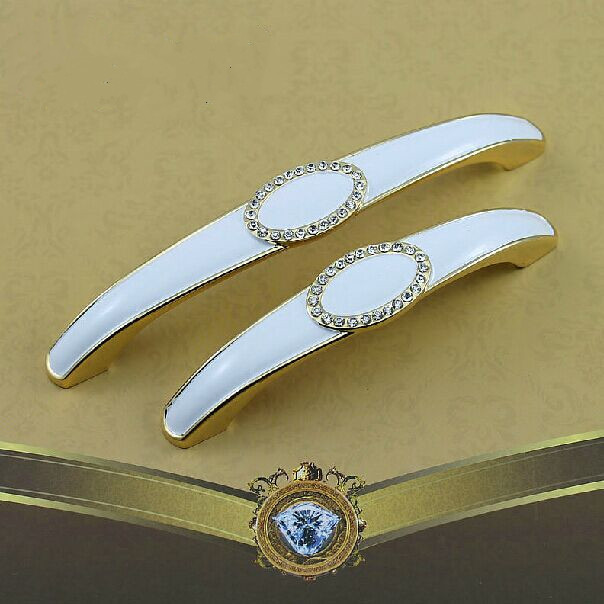 5 gold kitchen Cabinet handle crystal cupboard pull 128mm ivory white drawer Dresser Wardrobe Furniture handles pulls Knob