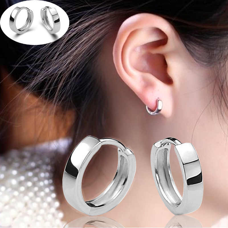 Free Shipping New Fashion Brand Smooth Metal Earrings Stainless Steel Earrings Punk Gothic Ring Earrings Men And Women