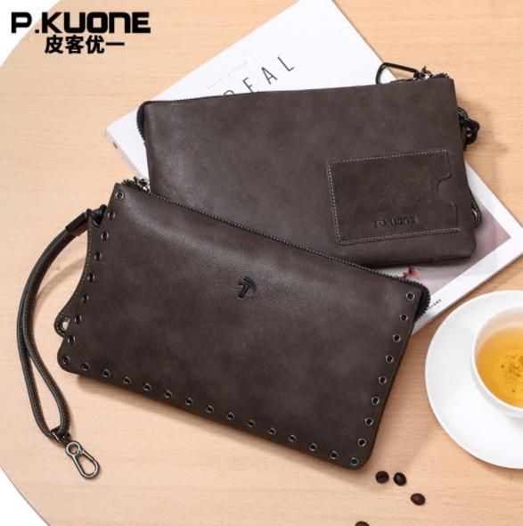 P.KUONE MAN'S Wallet New men's handbag Vintage Genuine leather hand bag men Card Holder Clutch Wallets male wallet IPAD purse конверт детский womar womar конверт в коляску зимний s61 giraffe светло серый
