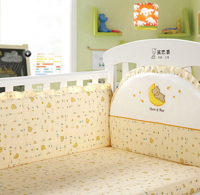 4 Pcs Baby Nursery Crib Bedding Sets Sheet Bumpers 4 Color to Choose