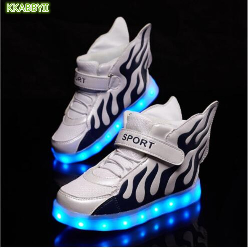 2018 New usb charging glowing sneakers Kids Running led angels wings kids with lights up luminous shoes girls boys shoes2018 New usb charging glowing sneakers Kids Running led angels wings kids with lights up luminous shoes girls boys shoes