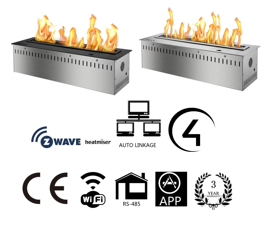 Inno Living Fire 48 Inch Stainless Steel Burner Bio Ethanol Fireplace With Remote Control
