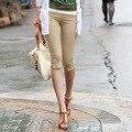 2017 Mujeres Ocasionales Adelgazan Pantalones de Diseño Original Del Color Del Caramelo Más El Tamaño XXXL Capris Estiramiento Elastc Cintura Pantalones Para Mujeres Niñas