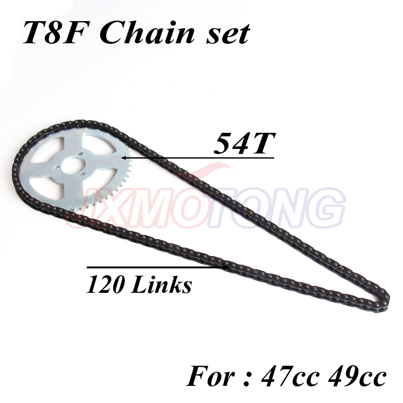 47cc 49cc T8F chain and 54T Chain plate for mini moto atv quad 2 stroke engine parts accessories free shipping