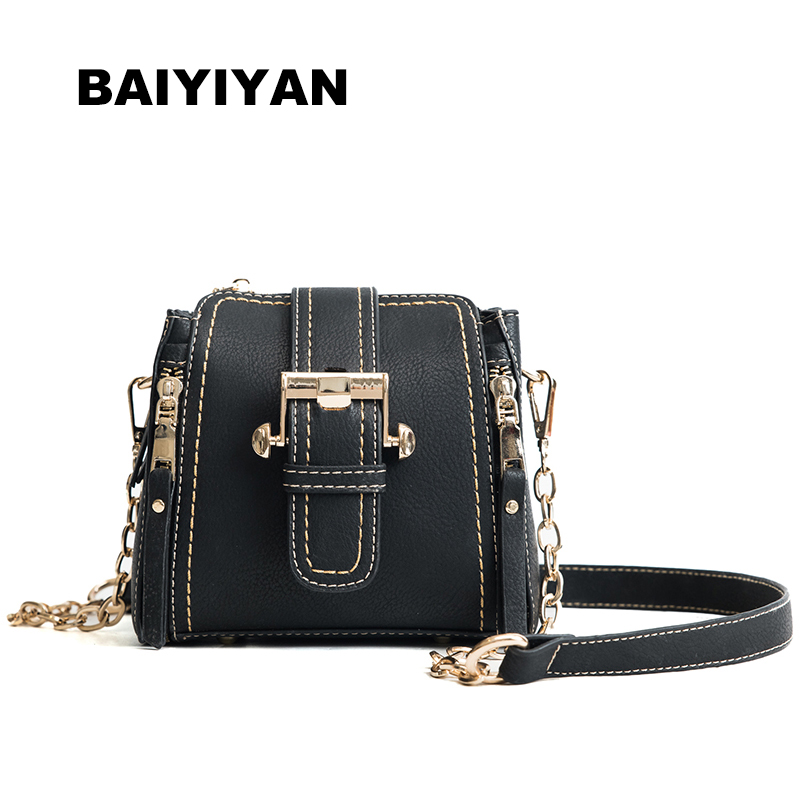New arrival Vintage Metal Chain Bucket Bag PU Leather Luxury Handbag Women's Hasp Small Bag Retro Shoulder Bag