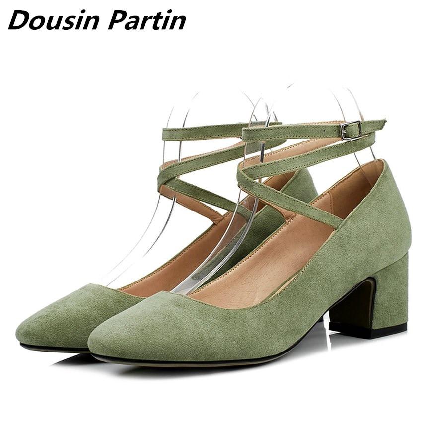 Dousin Partin 4 Colors Buckle Deisgn Square Toe Flock Elegent Straps Low Heeled women pumps N1876534