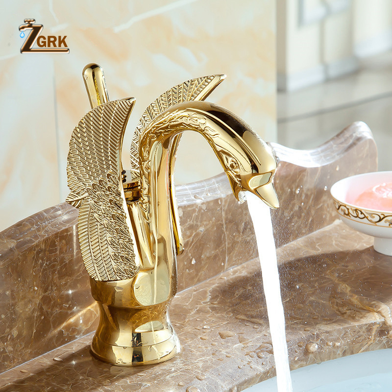 ZGRK Bathroom faucet Golden swan Basin sink faucet luxury mixer faucets torneira fashion basin taps donyummyjo luxury bathroom basin faucet brass golden polish swan shape single handle hot
