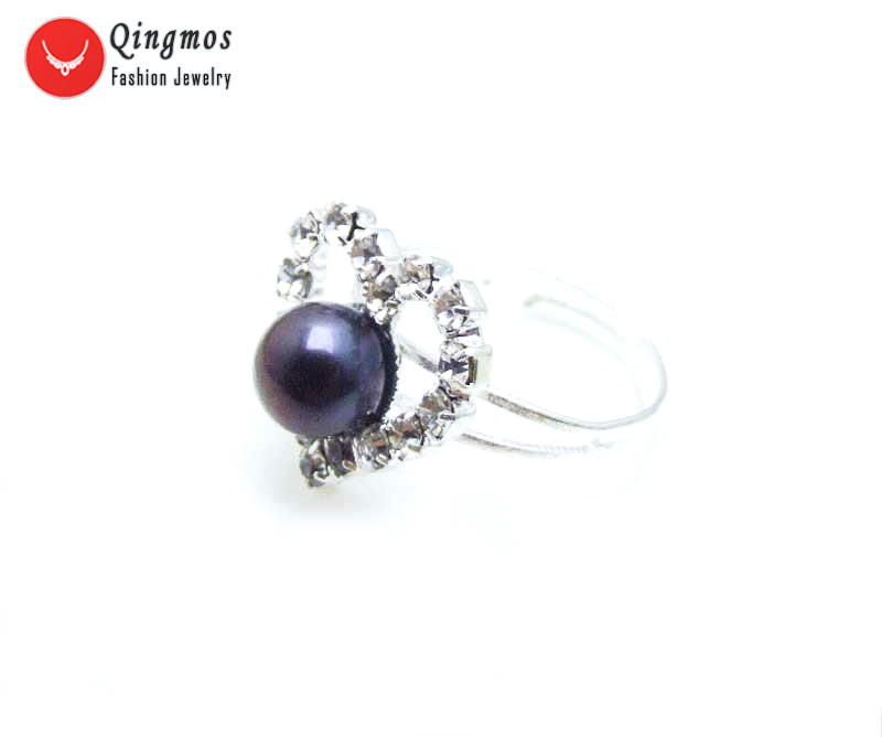 Qingmos Natural Pearl Ring for Women with 6-7mm Black Flat Pearl 15mm Heart Adjustable #8-9 Finger Ring In Jewelry Anillos Mujer