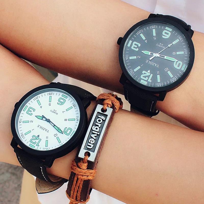 Genuine YAZOLE quartz male watches 2018 Fashion Men Women Glow Watch Faux Leather Strap Quartz Sport Wrist Watch