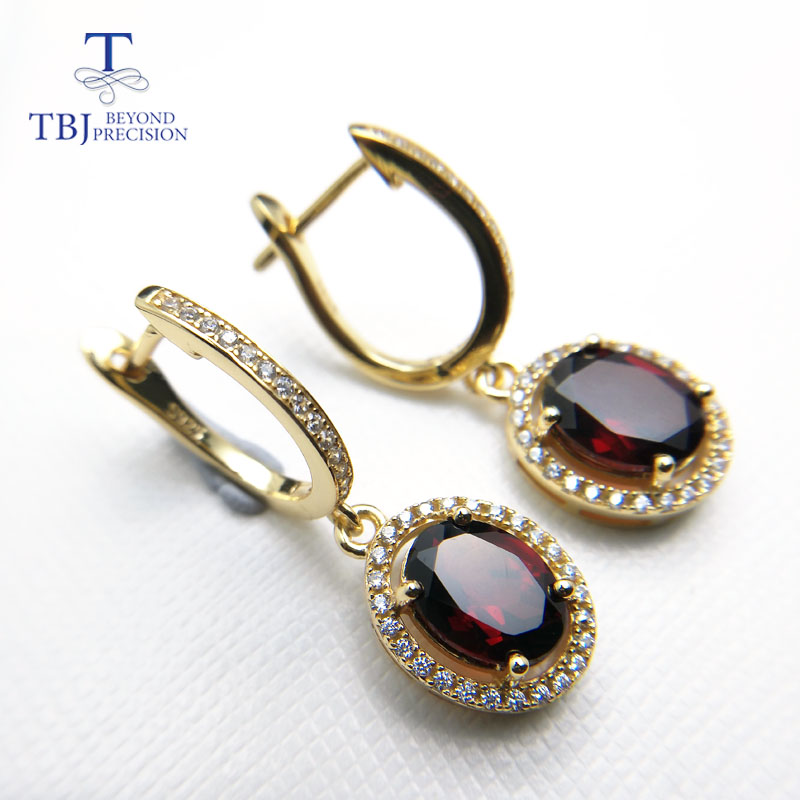 TBJ,Brand Design Elegant clasp drop earring with excellent red garnet in 925 silver yellow gold color female jewelry with box
