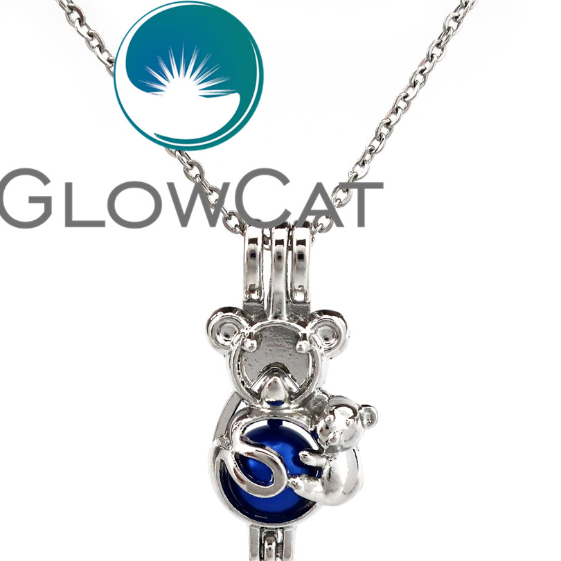 GLOWCAT KK695 Cute Koala Kids & Mom Beads Cage Locket Pendant Essential Oil Diffuser Pearl Cage Necklace Girl Women Gift image