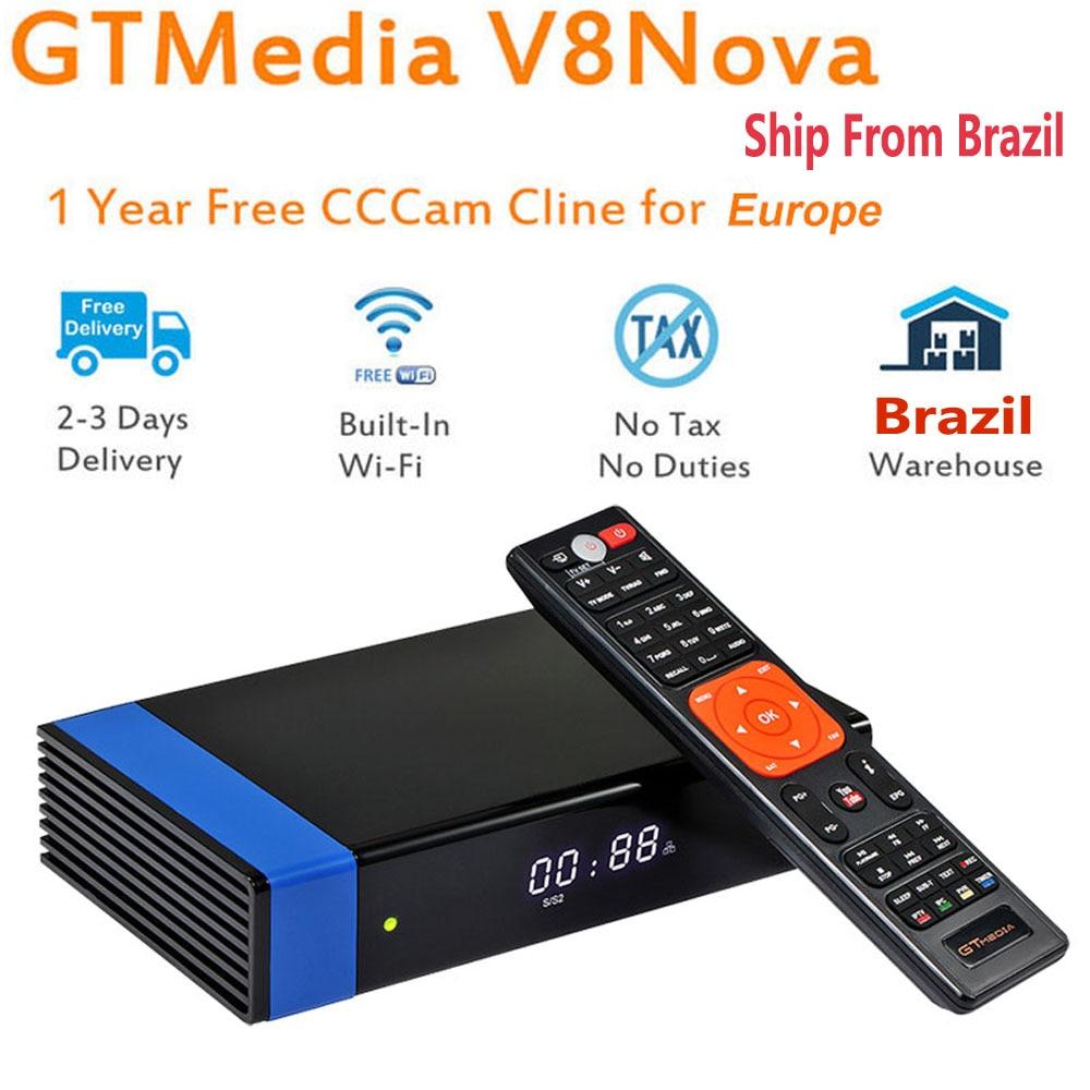 GTMedia V8 Nova Blue DVB S2 H.265 decoder satellite receiver + 1 year CCcam 4 clines built in WIFI AVS digital televisions Box