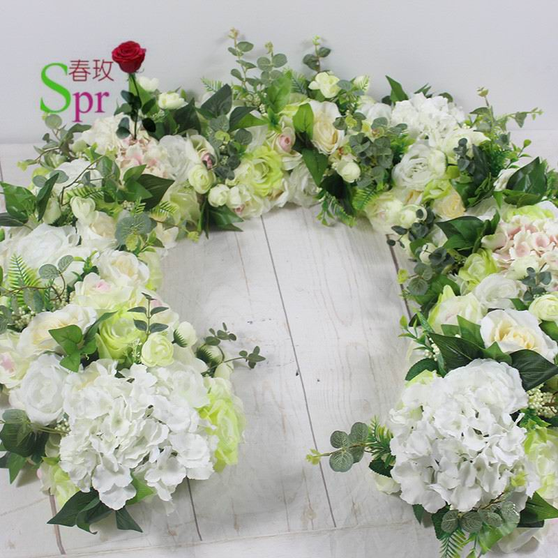 SPR Free Shipping road lead arch and row flowers 2m lot wedding decoration flower wall backdrop