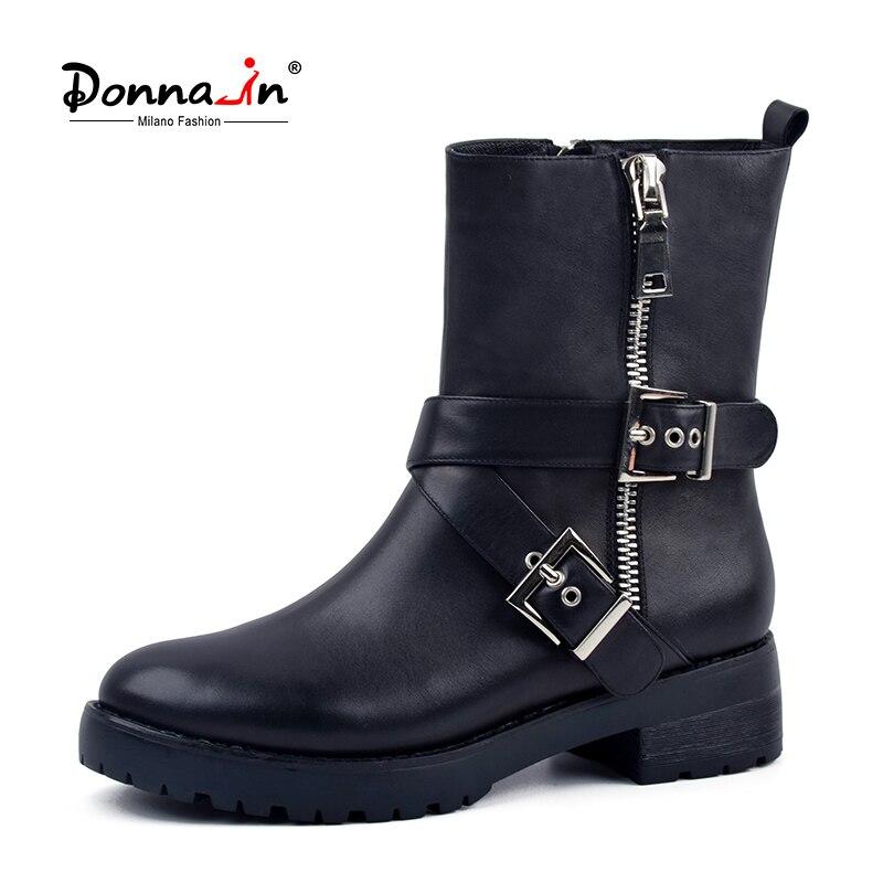 Donna-en cuero genuino MEDIADOS DE-becerro mujeres botas de tacón bajo forro de lana invierno nieve zapatos 2018 moda metálico cremallera botas de montar