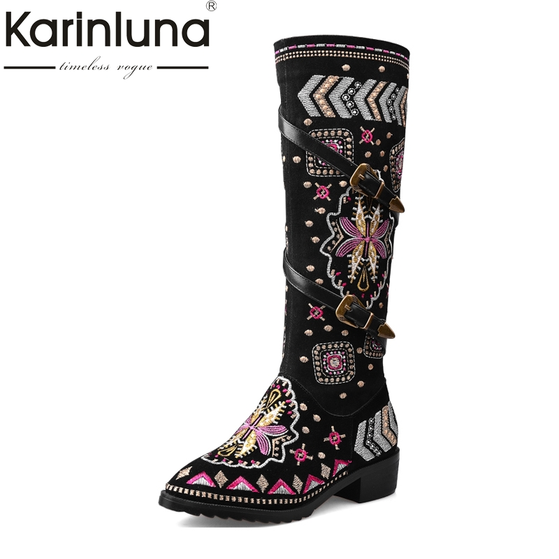 Top Quality Big Size 33-43 Women Boots Ethnic Style Knee High Boots Chinese Embroidery Cow Suede Genuine Leather Woman Shoes 2017 big size 34 43 genuine leather ethnic knee boots add fur retro thick heels embroidery high quality fall winter shoes woman