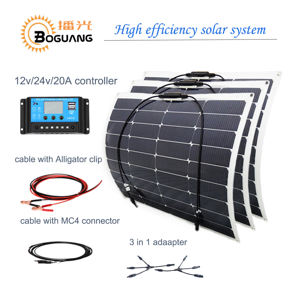 Boguang 18v/50w flexible solar panel 150w solar system  cable MC4 connector  20A controller junction box DIY kit adapter cell boguang 500w semi flexible solar panel solar system efficient cell diy kit module 50a mppt controller adapter mc4 connector