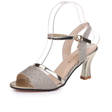 Women's Sandals Summer New High Heels Shoes Thick With The Trend Sequin Casual Wild Open Toe Word Buckle Sexy Fish Mouth Sandals sandals female summer with wild shoes 2017 new korean version of the slope with high heels thick bottom fish mouth word buckle s