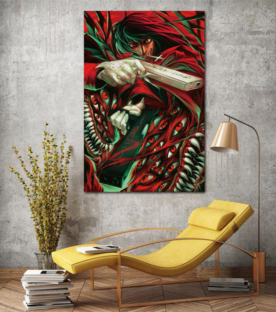 Hellsing Alucard Cool Anime Guy Art Print Living Room Home Wall Art