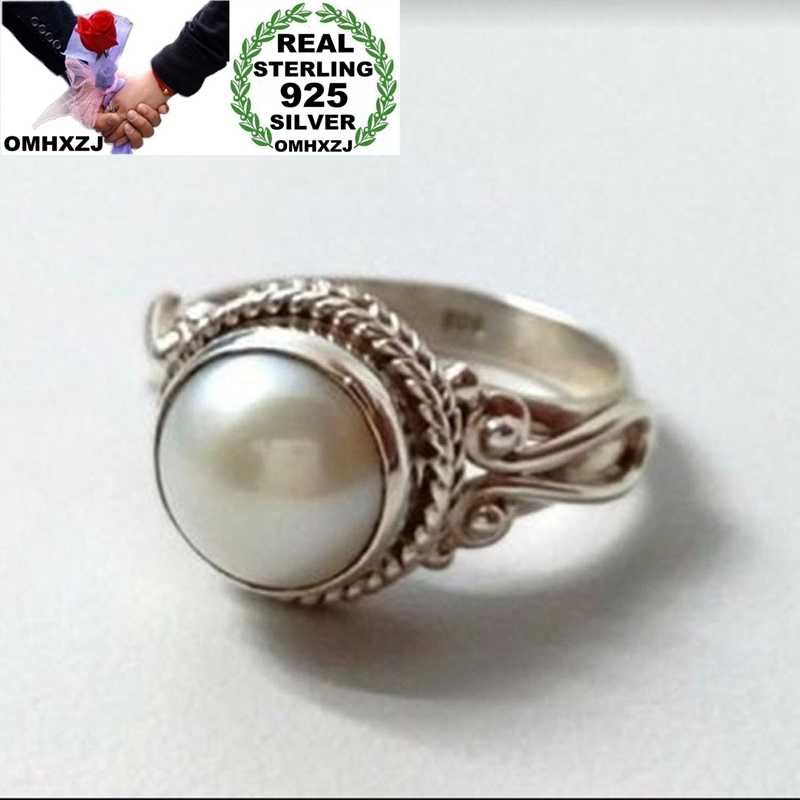 OMHXZJ Wholesale European Fashion Hot Woman Girl Party Birthday Wedding Gift Vintage Round Pearl 925 Sterling Silver Ring RR842