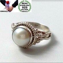 OMHXZJ europea al por mayor de moda de mujer de moda de niña de fiesta cumpleaños regalo de boda Vintage redonda perla anillo de Plata de Ley 925 RR842