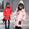 Девушки Зима Теплая Куртка 2016 Девушки Хлопок Проложенный Толщиной Куртка С Капюшоном Дети Одежда Верхняя Одежда Детская Пальто Девушки Куртка