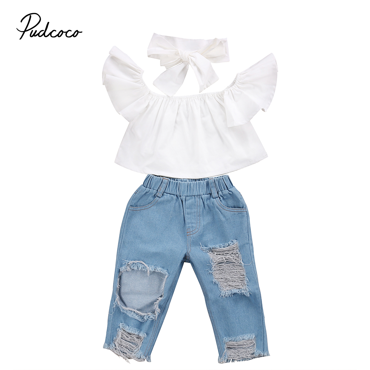 3Pcs Infantil Baby Girls Off Shoulder Casual Tops Ruffle T-shirts Toddler Girls Kid Denim Jeans Kids Baby Suit Toddler Clothes 3pcs outfit infantil girls clothes toddler baby girl plaid ruffled tops kids girls denim shorts cute headband summer outfits set