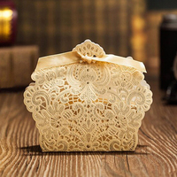 50pieces Lot Wedding Decoration Chocolate Box Red White Gold Color Candy Box Laser Cutting Gift