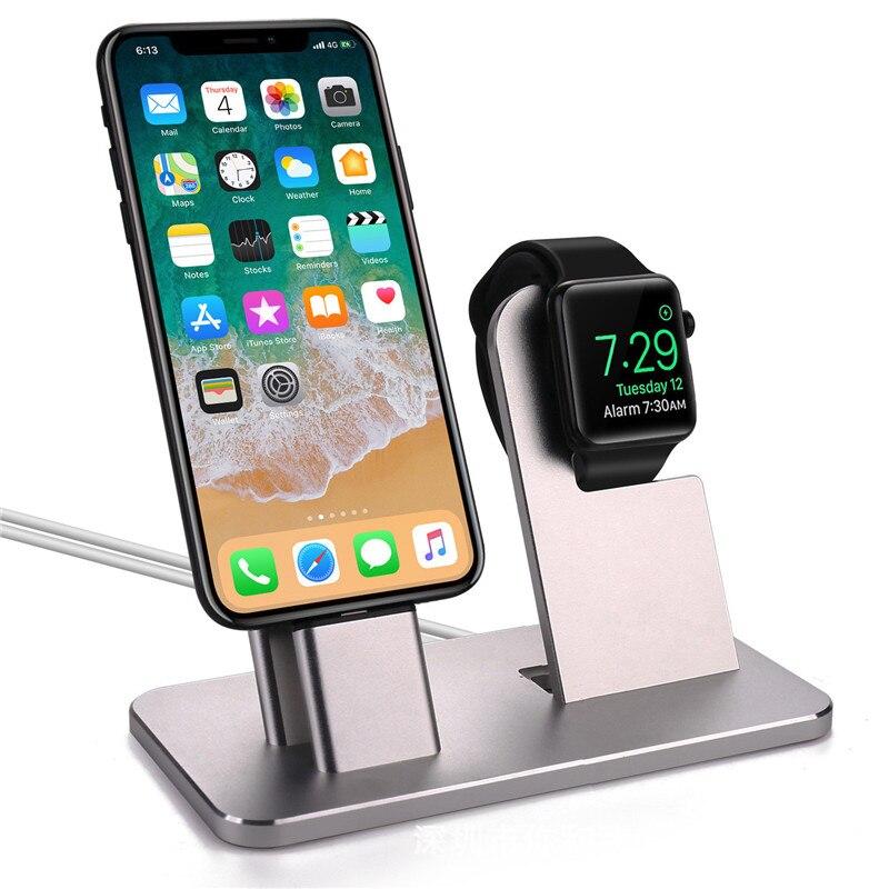 Support de Station de chargement 2 en 1 pour iPhone X 8 7 5 SE 6 s Plus support en aluminium support de berceau chargeur pour chargeur de montre