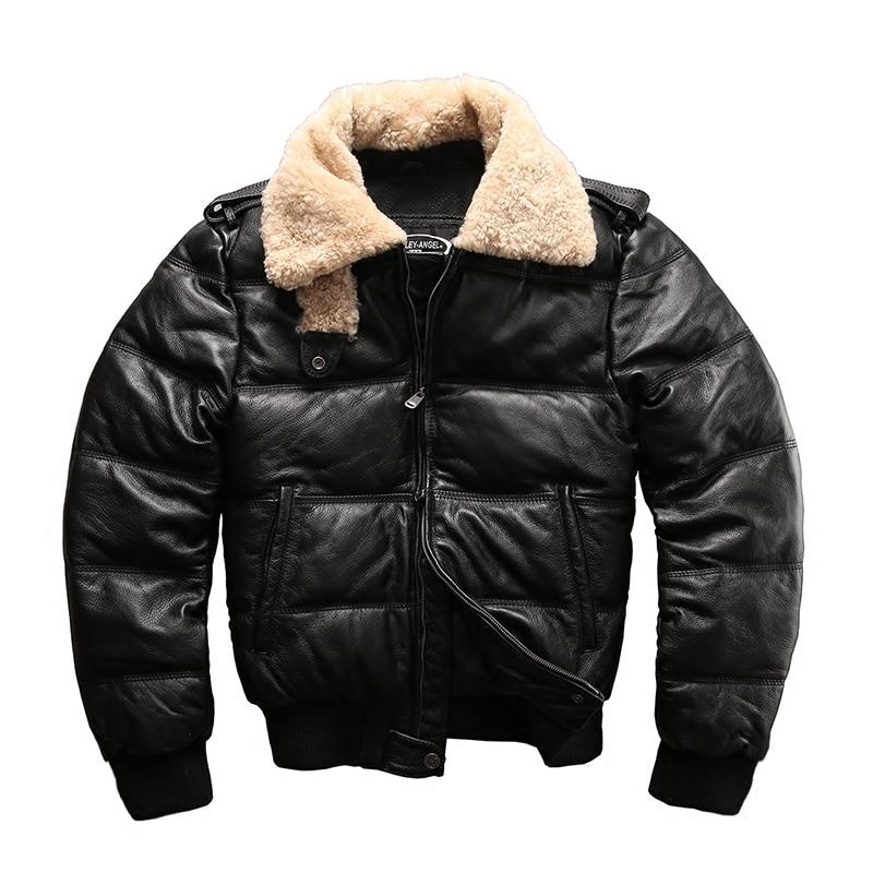 Taille européenne de haute qualité super chaud véritable peau de vache en cuir veste hommes grande taille décontracté en cuir de vachette doudoune