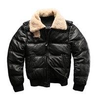 european size high quality super warm genuine cow skin leather jacket mens big size casual cowhide leather down jacket|jacket down|jacket down menjacket men -