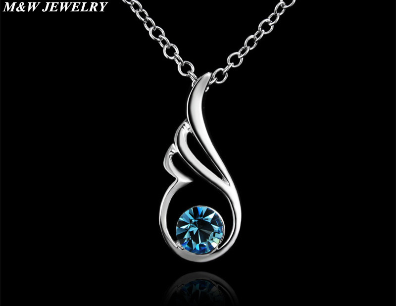 M&W JEWELRY 925 Silver Jewelry Delicate Angel Wings Pendant Crystal Element Jewelry Hot Sale for Womens Jewelry