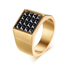 Meaeguet Bijoux Rings Jewelry Gold Plated Stainless Steel Square Black Cz Cubic Zirconia Pave Signet Ring for Men Anillos