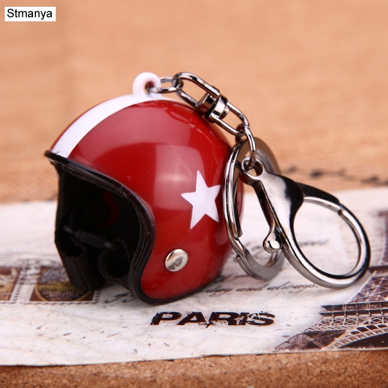 New Motorcycle Helmets Key Chain Women Men Cute Safety Helmet Car Keychain Bags Hot Key Ring Gift Jewelry Wholesale 17022