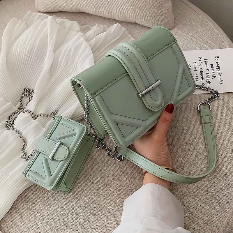 PU Leather Crossbody Bags For Women 2020 Chain Shoulder Messenger Bag Female Travel Handbags And Purses Hand Bag