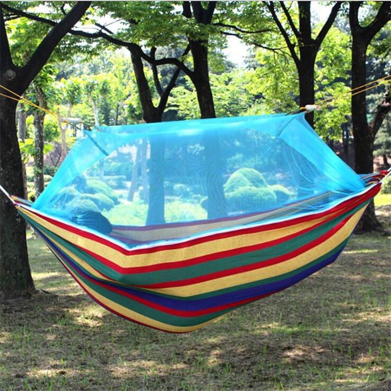 1-2 Person Cotton Fabric Hammock Canvas Mosquito Net Sleeping Portable Double Hamak Garden Hanging Bed Rest Swing Stripe Rainbow