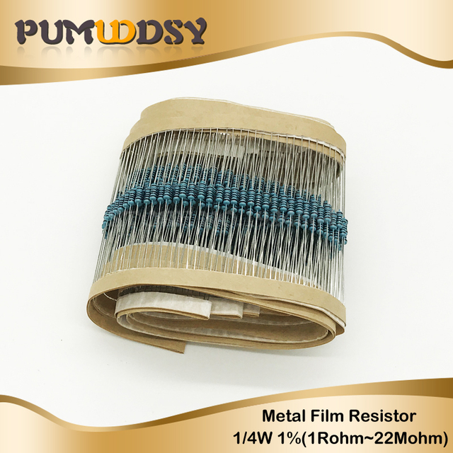 100pcs 1/4W Metal film resistor 1R ~ 22M 100R 220R 330R 1K 1.5K 2.2K 3.3K 4.7K 10K 22K 47K 100K 100 220 330 1K5 2K2 3K3 4K7 ohm